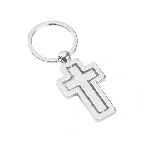 Portachiavi doppia sagoma ad anello piatto Cross