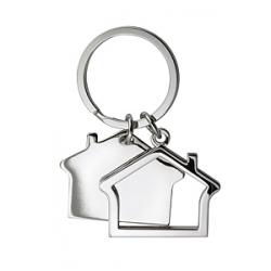 Portachiavi in metallo a forma di casa doppio Personalizzato